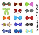 bow ties set for celebration... | Shutterstock .eps vector #591135812