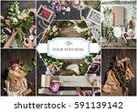 the florist desktop with...   Shutterstock . vector #591139142