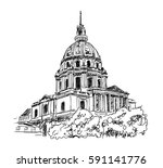 sketch of the cathedral of... | Shutterstock .eps vector #591141776