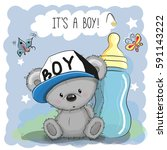 cute cartoon teddy bear boy... | Shutterstock . vector #591143222