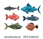 Cute fish cartoon funny swimming graphic animal character and underwater ocean wildlife nature aquatic fin marine water vector illustration.