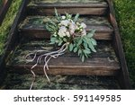 wedding bouquet of flowers and... | Shutterstock . vector #591149585