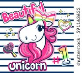 beautiful unicorn girl with... | Shutterstock .eps vector #591163622