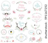 Hand drawn Birthday Party rustic collection with typographic design elements. Ornate motives, branches, wreaths, monograms, frames, antlers and flowers. Vector illustration.