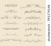 hand drawn frames  border ... | Shutterstock .eps vector #591174146