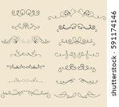 set of hand drawn vector... | Shutterstock .eps vector #591174146
