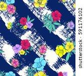 vector seamless pattern. exotic ... | Shutterstock .eps vector #591176102
