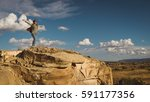 young and adventurous woman... | Shutterstock . vector #591177356