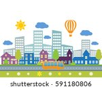 city with building and road.... | Shutterstock .eps vector #591180806