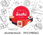 asian food poster. vector hand... | Shutterstock .eps vector #591198062