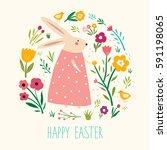 happy easter card. vector... | Shutterstock .eps vector #591198065