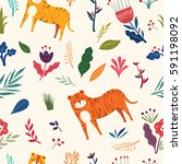 seamless pattern with tiger and ... | Shutterstock .eps vector #591198092