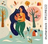 vector illustration with girl... | Shutterstock .eps vector #591198122