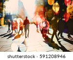 crowd of anonymous people... | Shutterstock . vector #591208946
