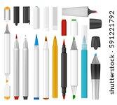 felt tip pen marker mockup set. ... | Shutterstock .eps vector #591221792