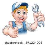 a mechanic or plumber handyman... | Shutterstock . vector #591224006