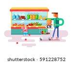 supermarket design flat | Shutterstock .eps vector #591228752