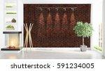 modern bright interior . 3d... | Shutterstock . vector #591234005