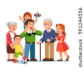 grandparents  young parents and ... | Shutterstock .eps vector #591244556