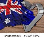 australian wavy flag with... | Shutterstock . vector #591244592