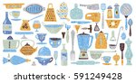 set of kitchenware and utensils ...   Shutterstock .eps vector #591249428