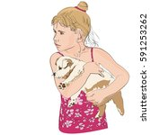 little girl holding a puppy.... | Shutterstock .eps vector #591253262
