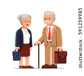 old business man and woman... | Shutterstock .eps vector #591259985
