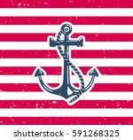 anchor symbol with grunge... | Shutterstock .eps vector #591268325