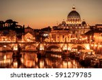 vatican dome of san pietro and... | Shutterstock . vector #591279785