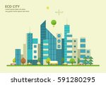 modern city. skyscrapers and... | Shutterstock .eps vector #591280295