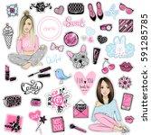 big vector kit of fashion... | Shutterstock .eps vector #591285785