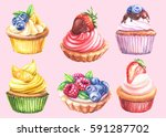 watercolor cupcakes collection | Shutterstock . vector #591287702