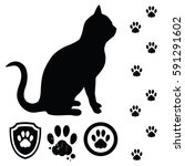 cat silhouette and design...   Shutterstock .eps vector #591291602