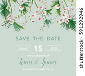 save the date wedding card in... | Shutterstock .eps vector #591292946