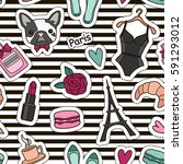 cute fashion seamless pattern... | Shutterstock .eps vector #591293012