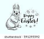 happy easter vintage doodle... | Shutterstock .eps vector #591295592