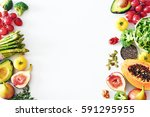 fresh veggies and fruits frame... | Shutterstock . vector #591295955