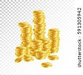 gold coins. columns of gold...   Shutterstock .eps vector #591305942