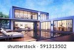 3d rendering modern house pool... | Shutterstock . vector #591313502