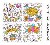 set of birthday hand drawn... | Shutterstock .eps vector #591316736