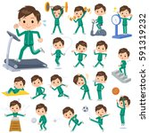 set of various poses of school... | Shutterstock .eps vector #591319232