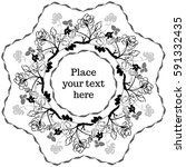 peony branches vector octagonal ... | Shutterstock .eps vector #591332435