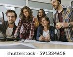 start up team of freelancers in ... | Shutterstock . vector #591334658