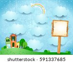 surreal landscape with little... | Shutterstock .eps vector #591337685