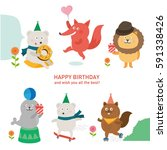 cute animal with happy birthday.... | Shutterstock .eps vector #591338426