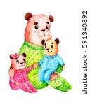 watercolor cute bear family  | Shutterstock . vector #591340892