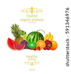 collection of fresh fruits and... | Shutterstock .eps vector #591346976