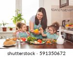 family preparing meal together. ... | Shutterstock . vector #591350672