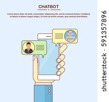 man chatting with chatbot in... | Shutterstock .eps vector #591357896