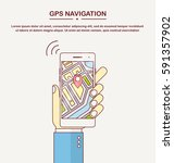 gps navigation app on mobile... | Shutterstock .eps vector #591357902